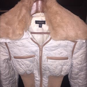Bebe women's cropped jacket with fur collar